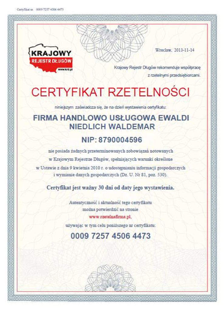Certyfikat rzetelnosci